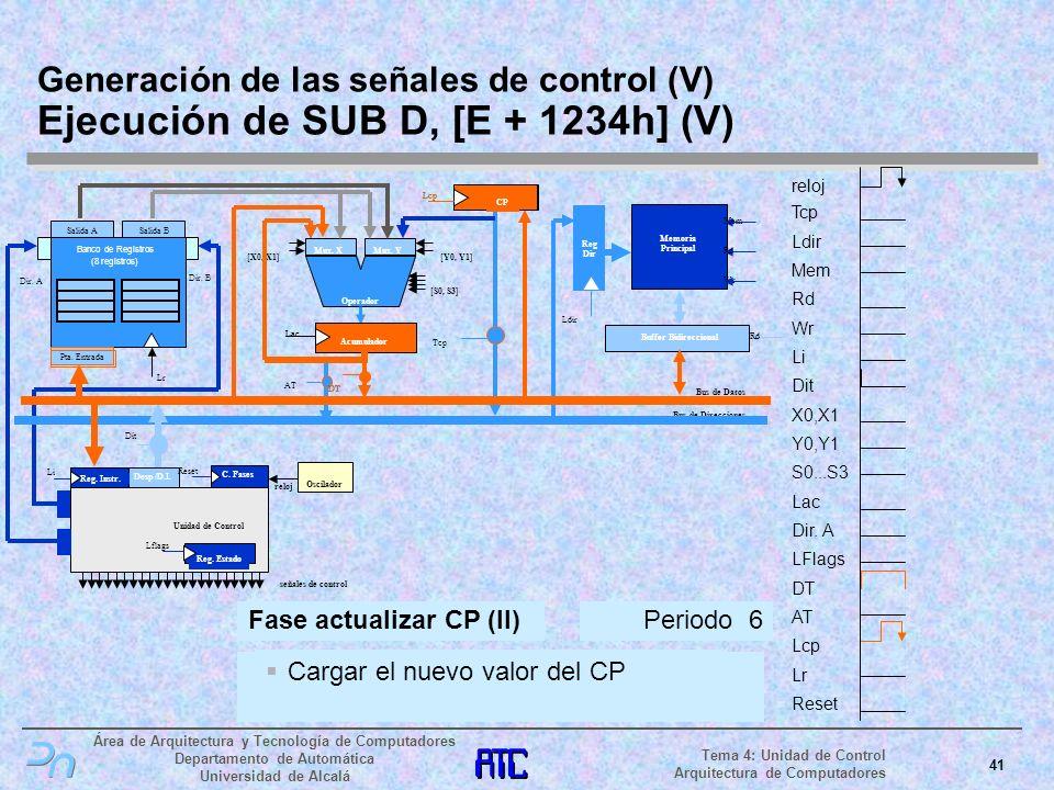 Generación de las señales de control (V) Ejecución de SUB D, [E + 1234h] (V)